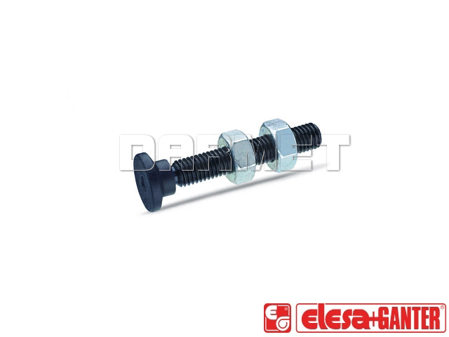 Toggle clamp spindle assemblies with swivelling plastic thrust pad GN 903